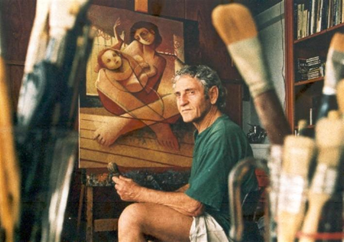 Benjamin At Work In His Studio, 2002
