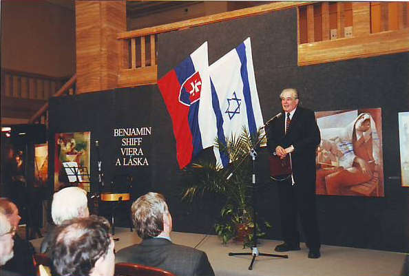 Professor Pavlo Mestan, General Director Of National Museum Of Bratislava,Slovakia, Welcomes Israeli Painter Benjamin Shiff., 2002